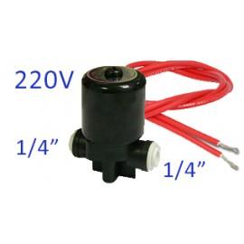 """Elektromágneses, solenoid szelep 1/4"""", 220V, hengeres, Quick"""